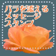バラを添えるメッセージスタンプ