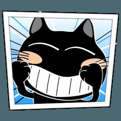 [LINEスタンプ] アメコミ風で、黒猫ハッピー9