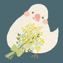 きびさとうのゆるい敬語スタンプ、鳥と花1
