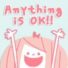 [LINEスタンプ] ピンク色の英語のスタンプ