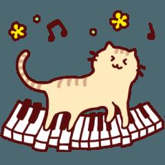 ピアノと猫のスタンプ♪【鍵盤づくし40種】