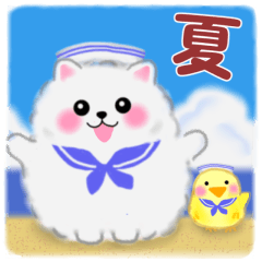 [LINEスタンプ] ポメラニアンぽちゃん「夏」敬語