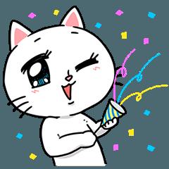澄んだ瞳で祝うネコ