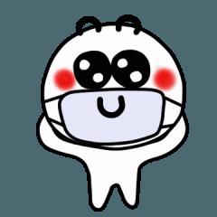 白ちゃんのマスクをする日常(英語)