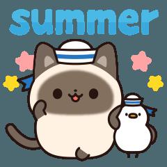 [LINEスタンプ] 毎日使えるシャム猫スタンプ 夏ver.