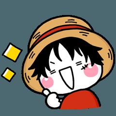 [LINEスタンプ] しろまるのONE PIECE コラボスタンプ♡限定