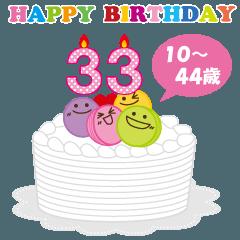 10~44歳・年齢の誕生日お祝いケーキ